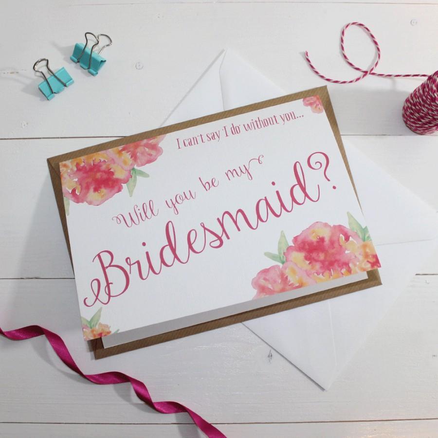 زفاف - Will you be my Bridesmaid? Card - Wedding - Watercolour & Floral {White Background}