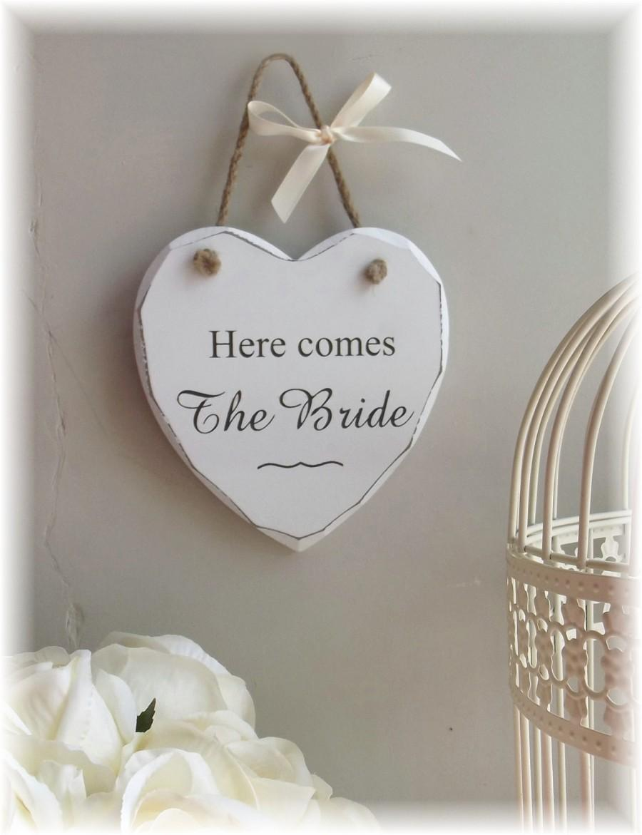 """Wedding - Vintage Style Shabby Chic Distressed Wedding Sign """"Here Comes the Bride"""", Flower Girl sign/plaque"""