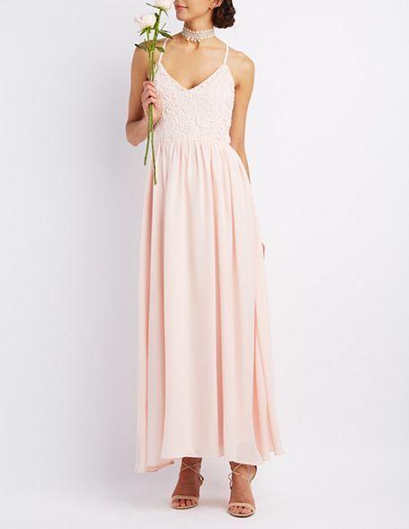 زفاف - Crochet & Chiffon Maxi Dress