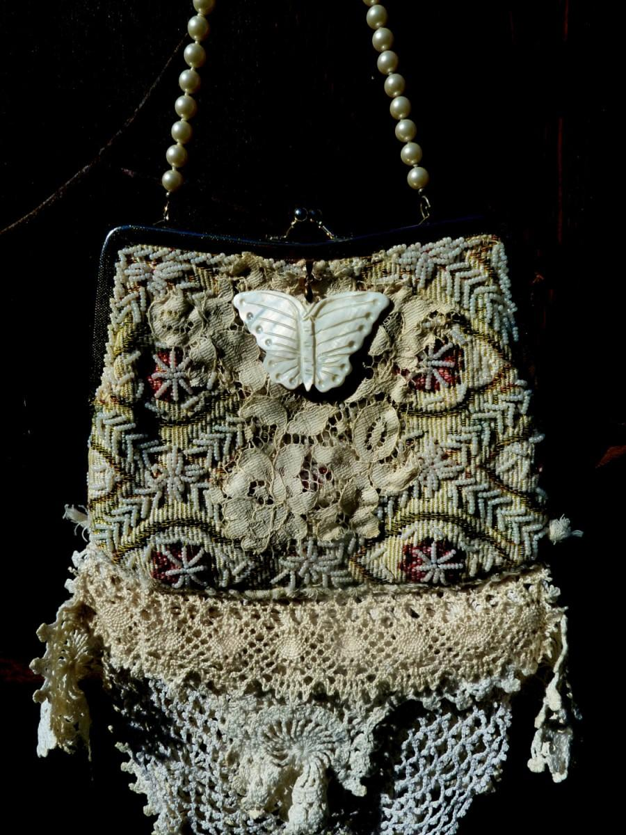 Mariage - REDUCED, Vintage Bridal Bag, OOAK Design, Tattered, Butterfly, Wedding, Bridal Accessories, Romantic Bride, Special Occasion, Upcycled