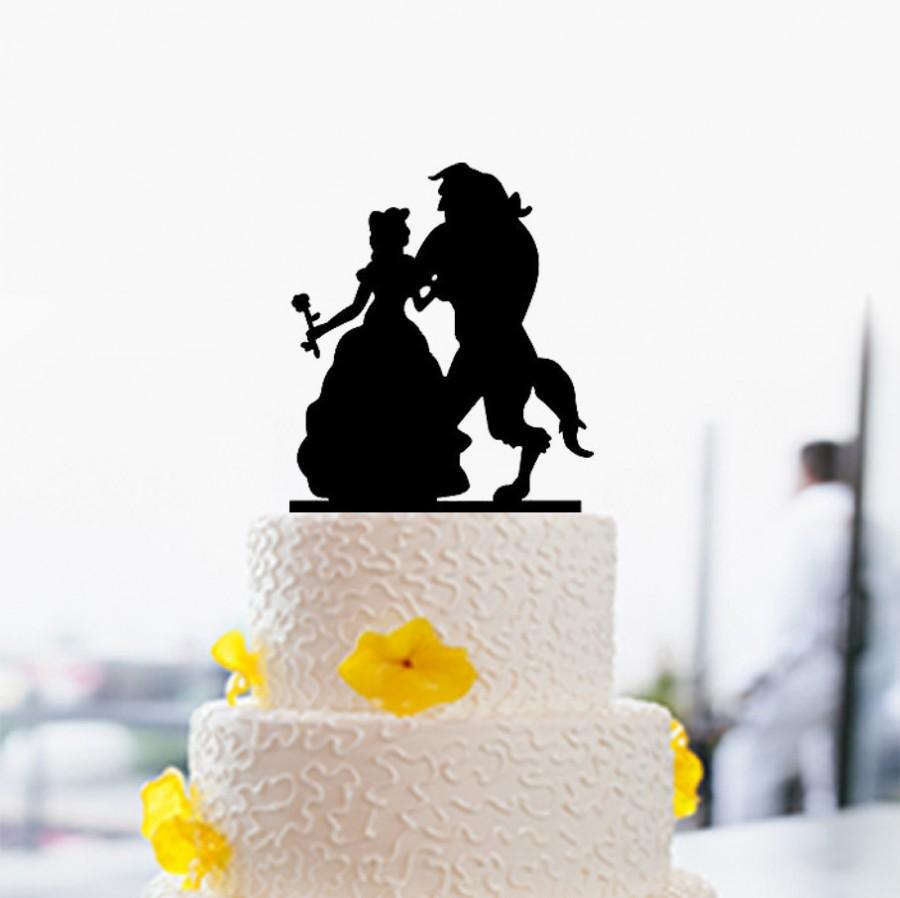 Wedding - Beauty And Beast Wedding Cake Topper,Custom Cake Topper,Elegant Cake Topper,Disney Style Cake Topper,Unique Cake Topper