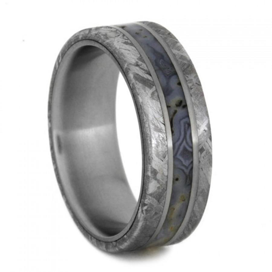 dinosaur bone wedding band with titanium pinstripes mens meteorite ring titanium ring - Dinosaur Bone Wedding Ring