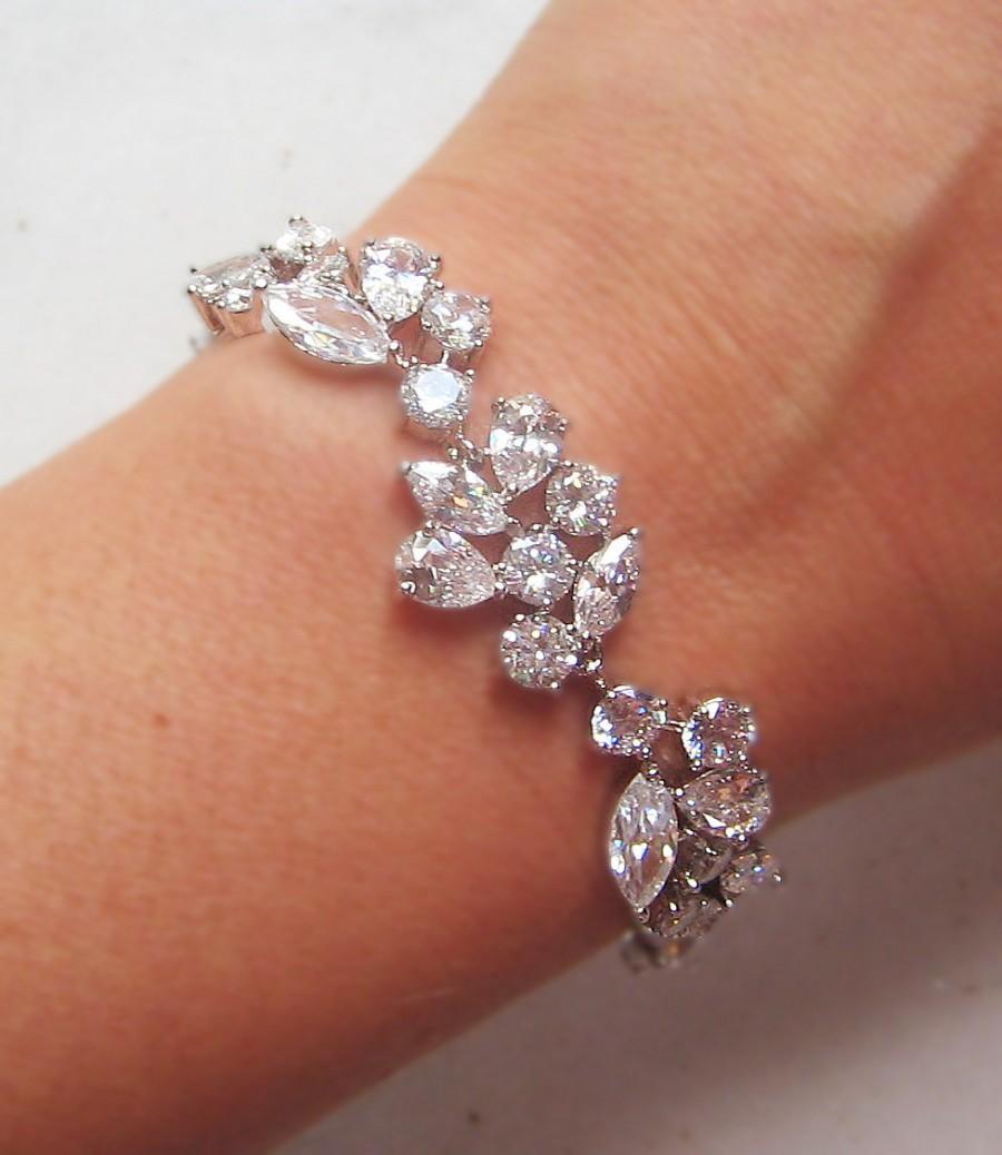 Свадьба - Swarovski Crystal Bracelet, Cubic Zirconia Wedding Bracelet, Silver or Gold Crystal Wedding Bracelet - ADARA