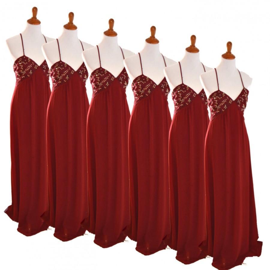 Burgundy Bridal Dress, Bridesmaid Dress, Red Bridesmaid Dress ...