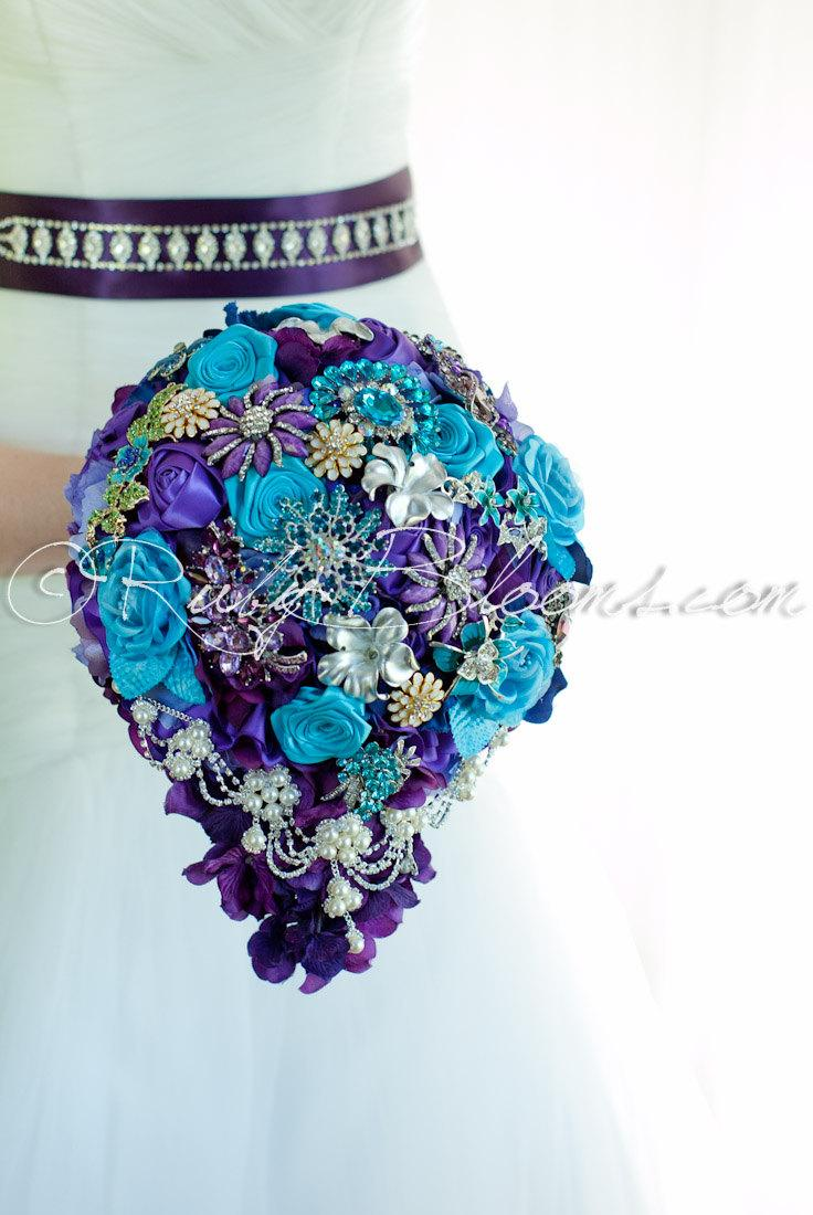 Cascading Turquoise Purple Wedding Brooch Bouquet. \