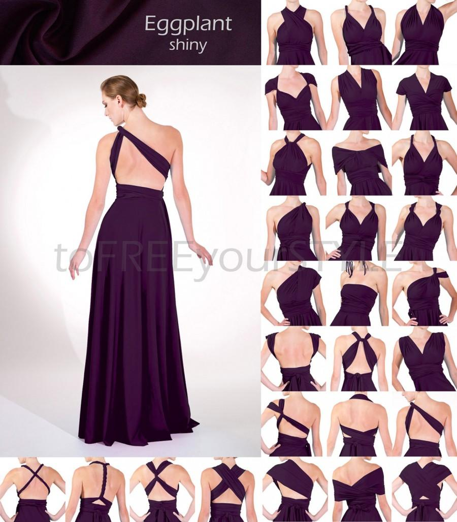 Mariage - Long infinity dress in EGGPLANT purple shiny, FULL Free-Style Dress, long convertible dress, infinity bridesmaid dress, maxi dress, evening