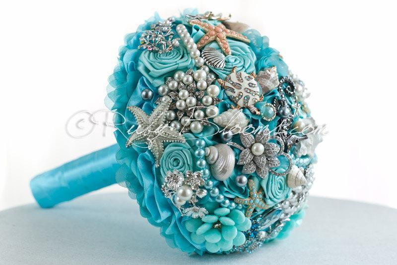 "Mariage - Aqua Mint Destination Wedding Brooch Bouquet. ""See Sea Zoo"" Starfish Beach Wedding Broach Bouquet, Sea Shell Brooch Bouquet, Ruby Blooms"
