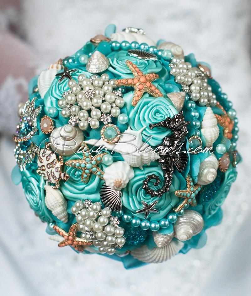"Mariage - Bridal Brooch Bouquet. ""Aqua Ash Breeze"" Starfish, Seahorse Coral Turquoise Blue Beach Wedding Broach Bouquet, Ruby Blooms Wedding"