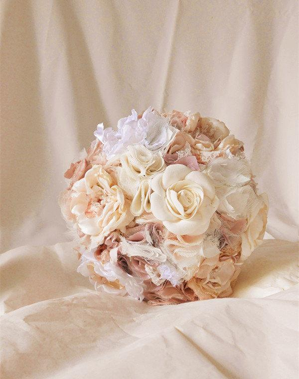 Свадьба - 9 INCH ,Wedding Bouquet, Fabric Bouquet,Bridal Bouquet ,wedding flower, Bouquet, blush champagne, white, cream.