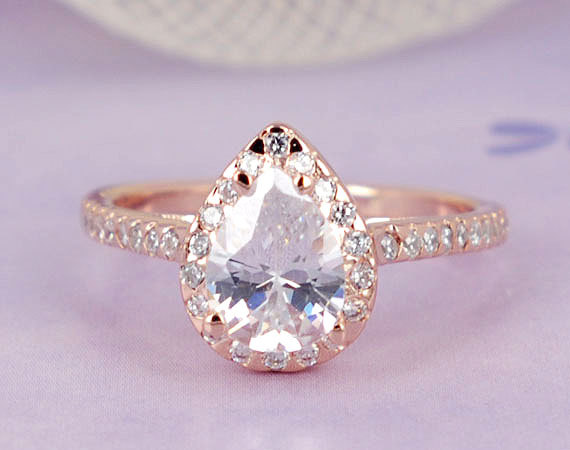 Свадьба - 1.75 ctw Pear Diamond Simulated, Halo Ring Half Eternity Wedding Engagement, Sterling Silver Ring, Rose Gold Plated_ sv2199