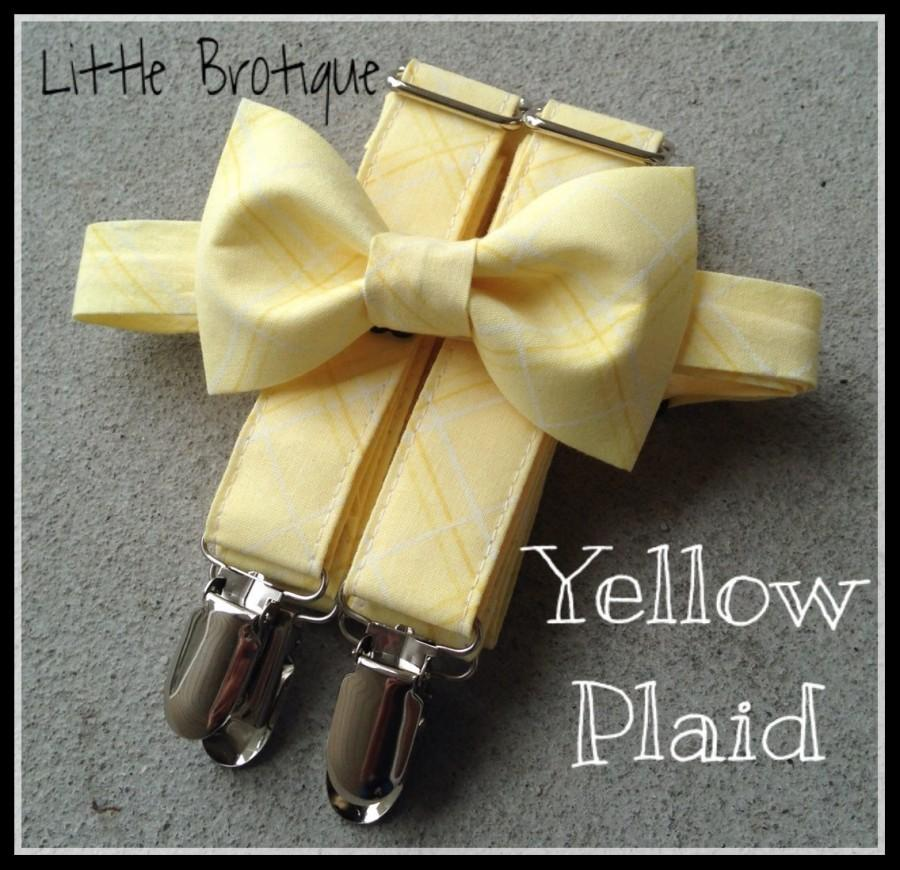 Hochzeit - Plaid yellow bow tie and suspender set for men, boys, toddlers, and babies. Sent 3-5 days after you order