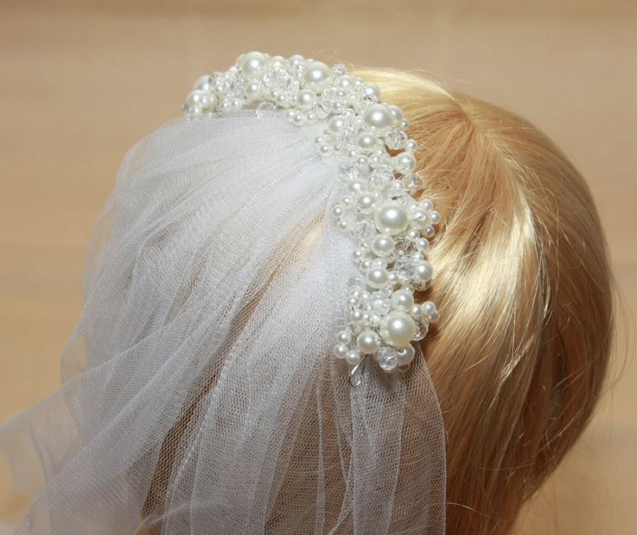 Mariage - 3m ivory/white Cathedral Organza Veil with Hair Comb Wedding Bridal & Ivory Pearl Tiara 1Tier