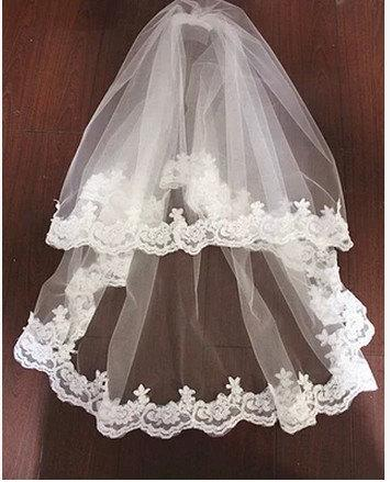 Mariage - High quality handmade wedding veil white veil Bridal veil  two tiers lace ivory veil romantic veil with comb