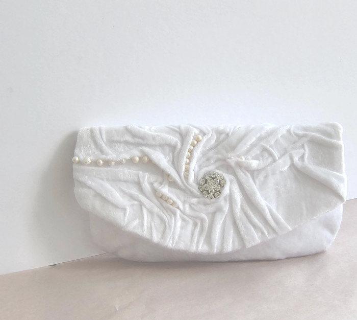 Mariage - Bridal Clutch Love. White Silk plush Clutch with swarovski crystal pearls Wedding handbag Bridal purse , Real Pearls