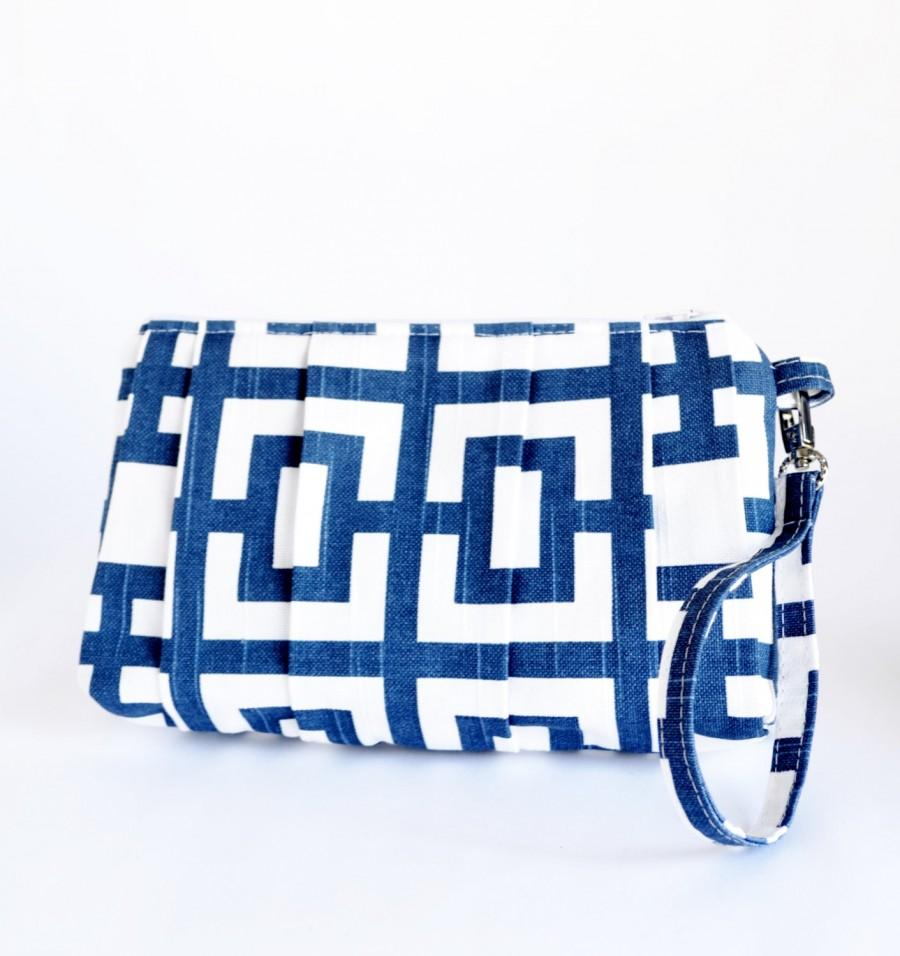 Mariage - Pleated Wristlet Pouch Clutch White Navy Blue Makeup Bag Bridesmaid Gift Cotton Bag