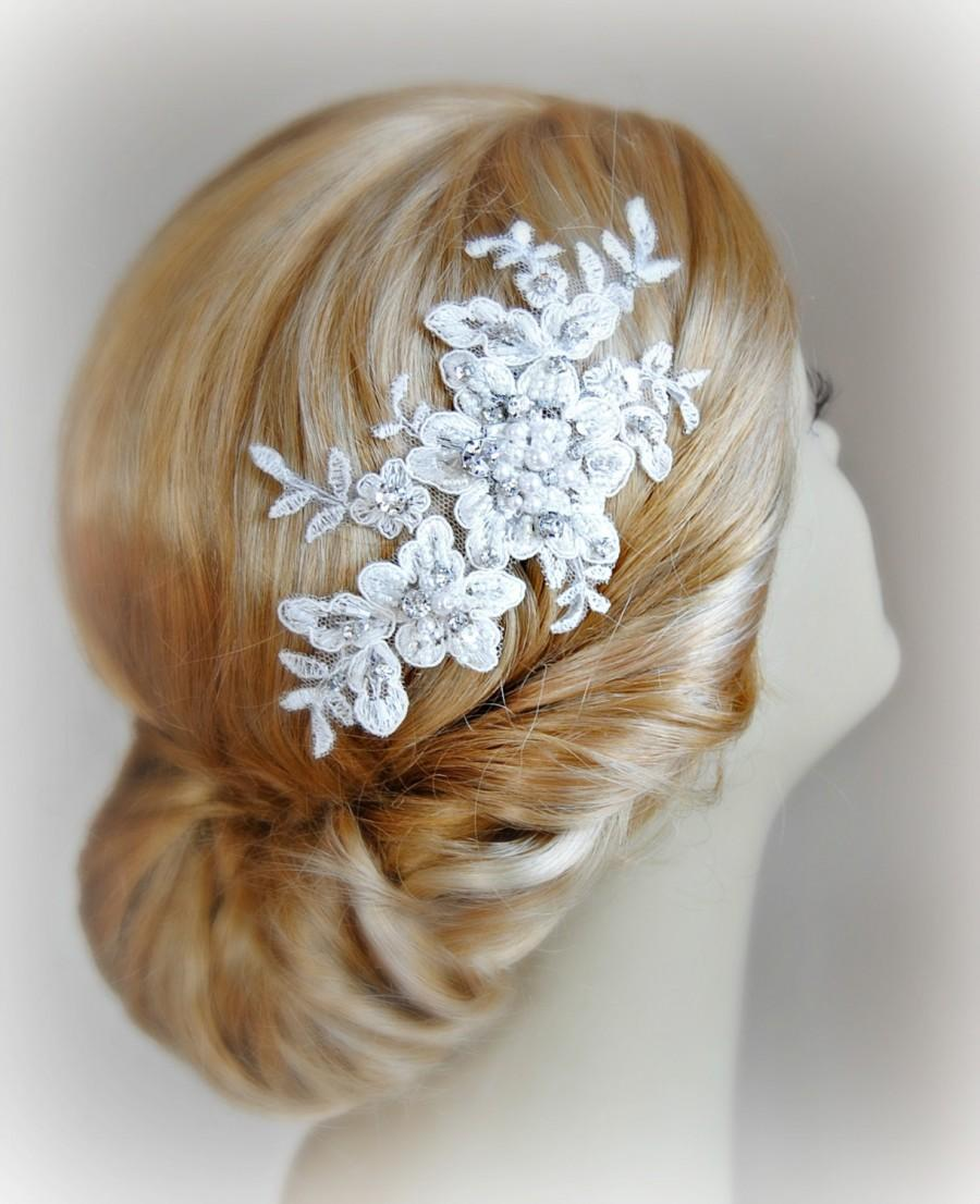 Mariage - Ivory Lace Bridal Headpiece, Bridal Fascinator, Wedding Head Piece, Crystals and Pearl, Silver or Gold - AUBREY