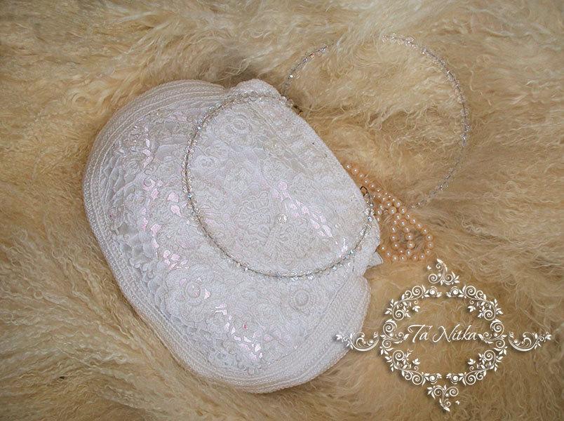 Mariage - Bag lace wedding crochet, Bridal Handbag white , Vintage Crochet bag, Irish lace,  Handbag with beads