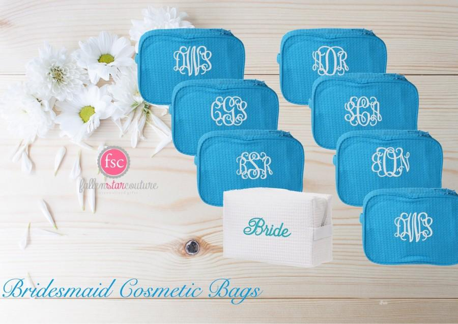 Mariage - Set of 8 bridesmaid makeup bags , bridesmaid accesory bags, monogrammed bag, wedding bag , bridesmaid gifts , personalized bridesmaid gifts