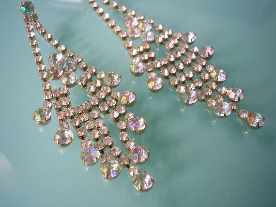 Wedding - Long Rhinestone Earrings, Chandelier Earrings, Gatsby, Art Deco, Bridal Earrings, Dangly, Vintage, Sparkly, Aurora Borealis, Pierced Ears