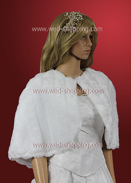 Wedding - Wedding Cape Ivory White Faux Fur A1004