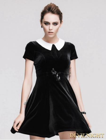 Mariage - Black Short Sleeves Velvet Hepburn Style Gothic Dress