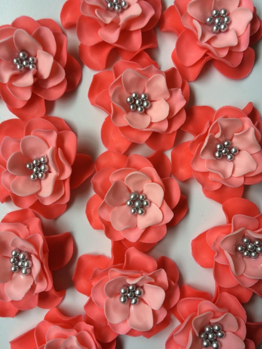 12 Flower Cake Topper Fondant Flowers Coral Silver Ombre Edible