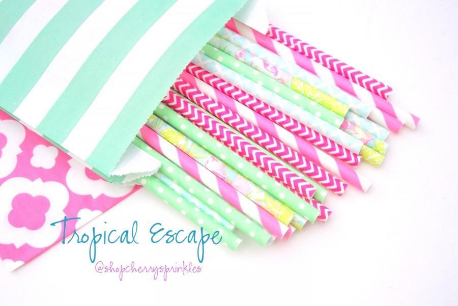 Mariage - Lilly Pulitzer -Flamingo party  *Mint straws -Hot pink straws -STRAWS *Paper Straws, Wedding *Birthday  *Floral Straws *Pink *Summer