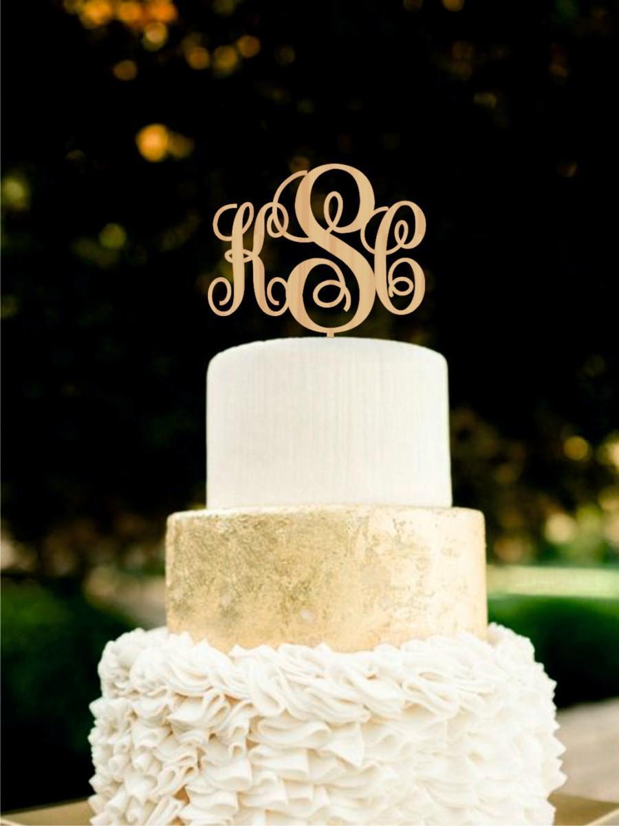 Mariage - Wedding Cake Topper Monogram Wood Cake Topper Custom Rustic Cake Topper Gold cake topper Silver cake topper