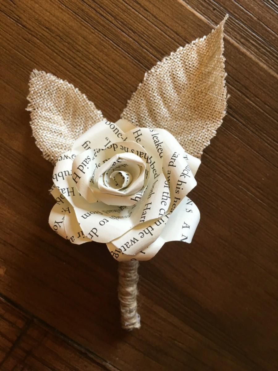 Mariage - Harry Potter Paper Flower Boutonniere, Harry Potter corsage, corsage, boutonniere, Paper rose boutonniere, buttonhole, Harry Potter