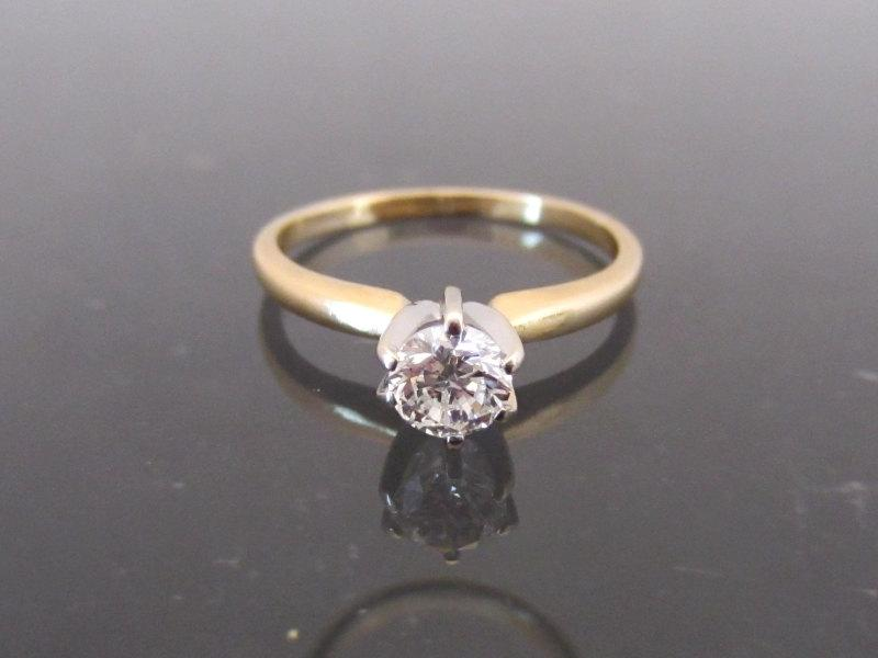 زفاف - Vintage 14K Solid Gold .36ct Genuine Diamond High Setting Ring Size 5