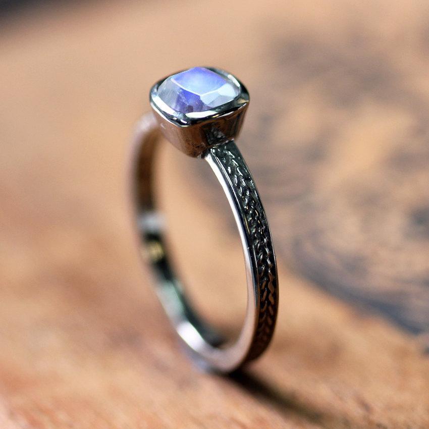 white gold moonstone ring rainbow moonstone engagement ring wheat braided ring alternative ring recycled 14k white gold custom made - Moonstone Wedding Rings