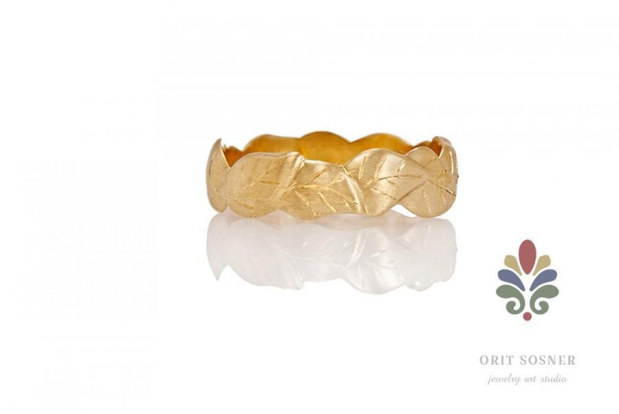Свадьба - 18k leaves Pattern Wedding Ring, alternative wedding ring, Leaves Gold Wedding Band,  engraved ring,leaves wedding band , fairy wedding ring