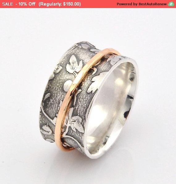 زفاف - Spinner Ring, Leaf Motif Ring and Solid Handmade 9ct Gold spinner ,Wedding ring, Nature Inspired, Spinner Ring for women, ROMR2