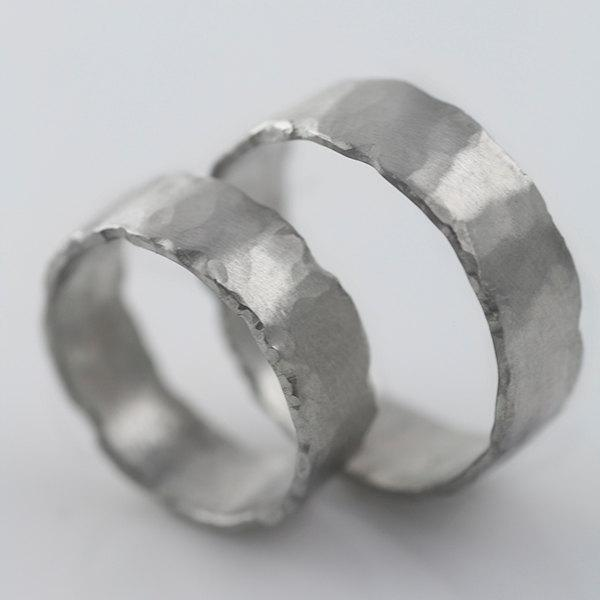 Свадьба - Palladium Rustic Wedding Bands 4mm & 5mm All Recycled Metal Hand Forged