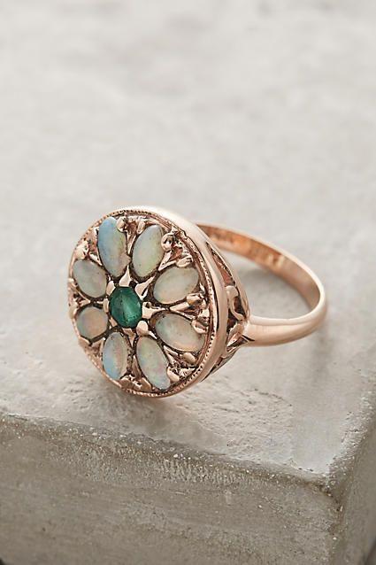 Свадьба - Emerald And Opal Round Mandala Ring In 14k Rose Gold