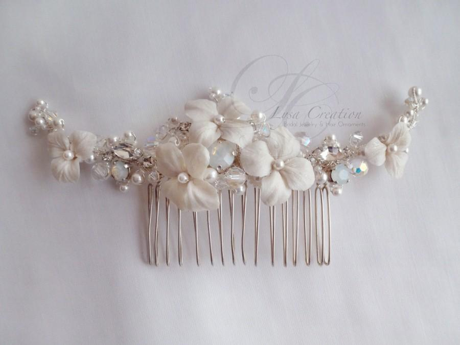 Wedding - Opal White Romantic Bridal Haircomb with Resin flowers Swarovski Pearls - Floral Bridal Haircomb with Opal Crystal