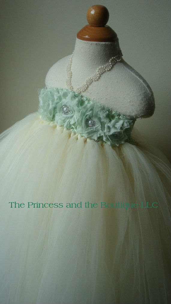 Mariage - Ivory flower girl dress with mint green chiffon flowers. Tutu flower girl dress