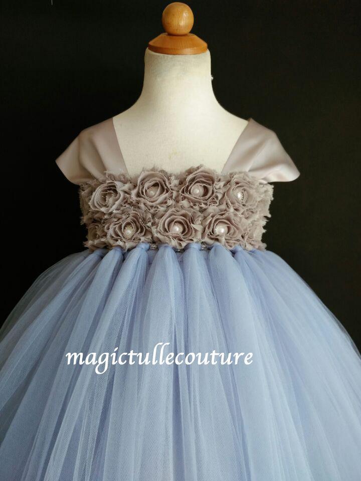 Hochzeit - Serenity blue and grey cap sleeve flower girl tutu dress wedding dress tulle dress birthday party dress 1t2t3t4t5t6t7t8t9t10t