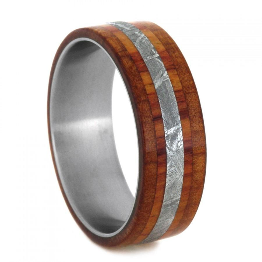 Wedding - Wood Wedding Band, Meteorite Ring With Cedar And Tulip Wood Inlays, Titanium Wedding Band