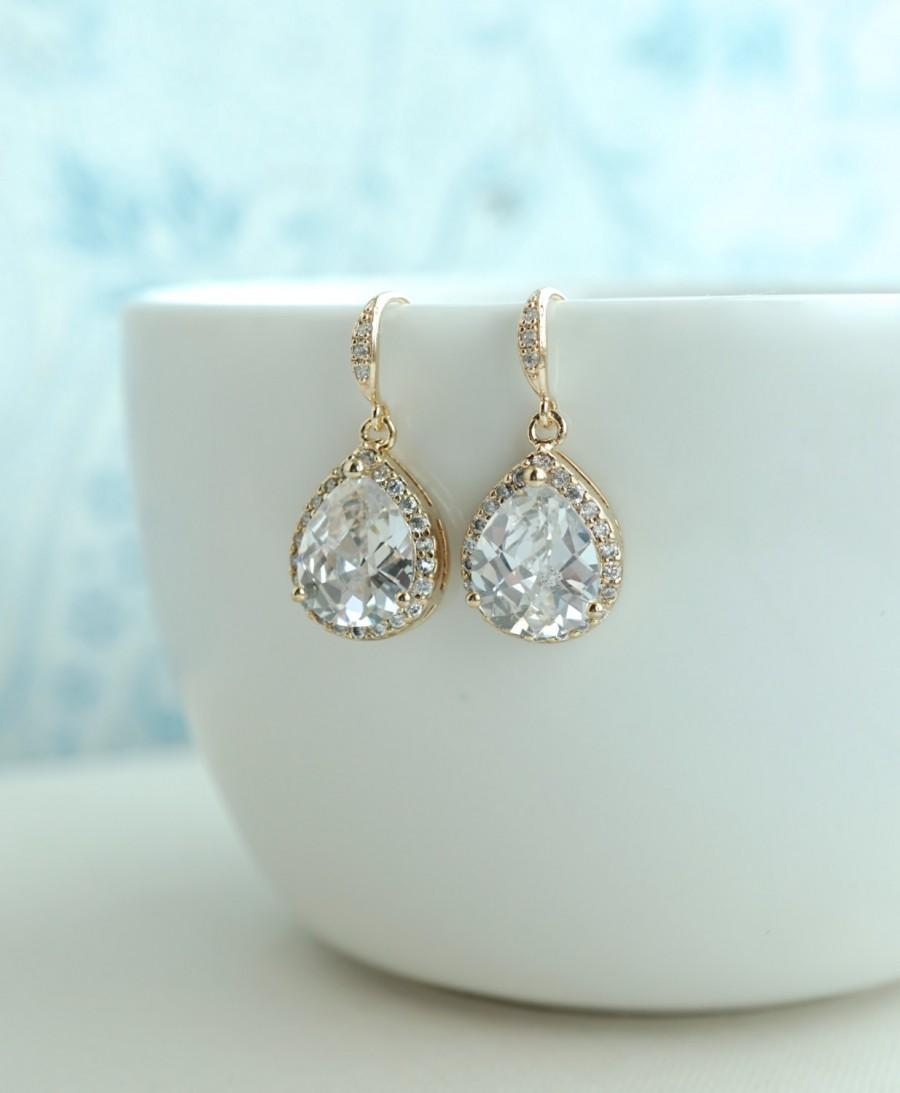 Свадьба - Gold Pear Cubic Zircon Drops Earrings. Large LUX Framed Teardrop Shaped Drops Gold Plated Bridal Earrings. Pear CZ Wedding Bridesmaid Gift.
