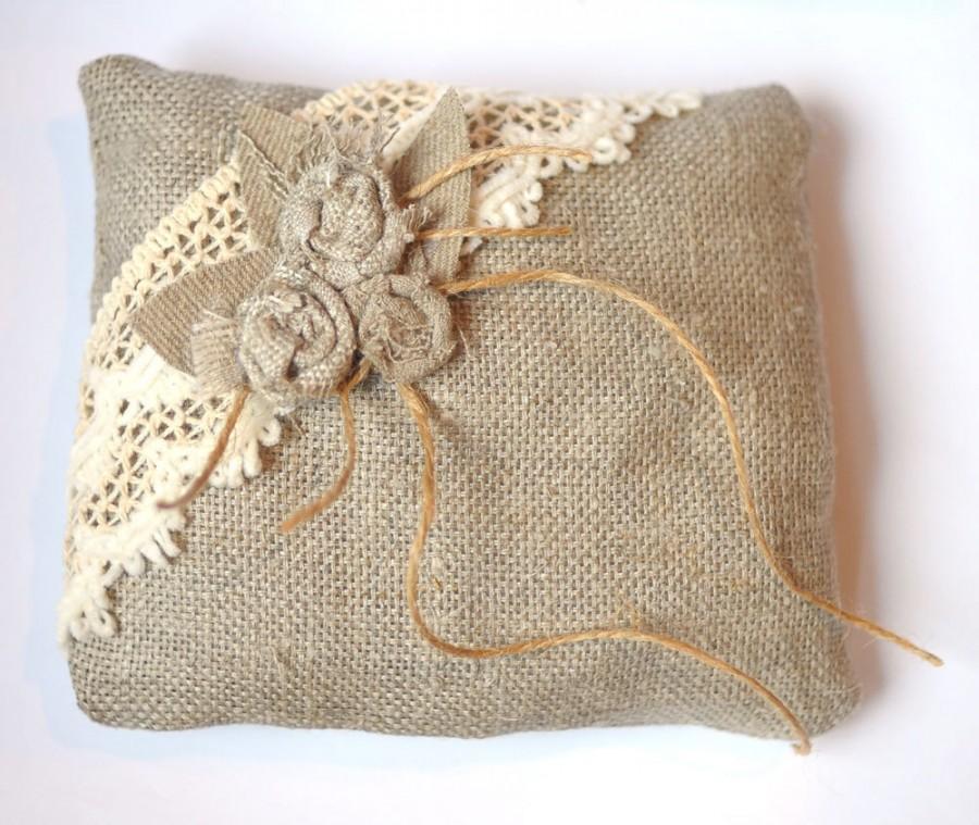 Свадьба - Pillow Ring Rustic Wedding Linen Flower Fabric Cotton Lace