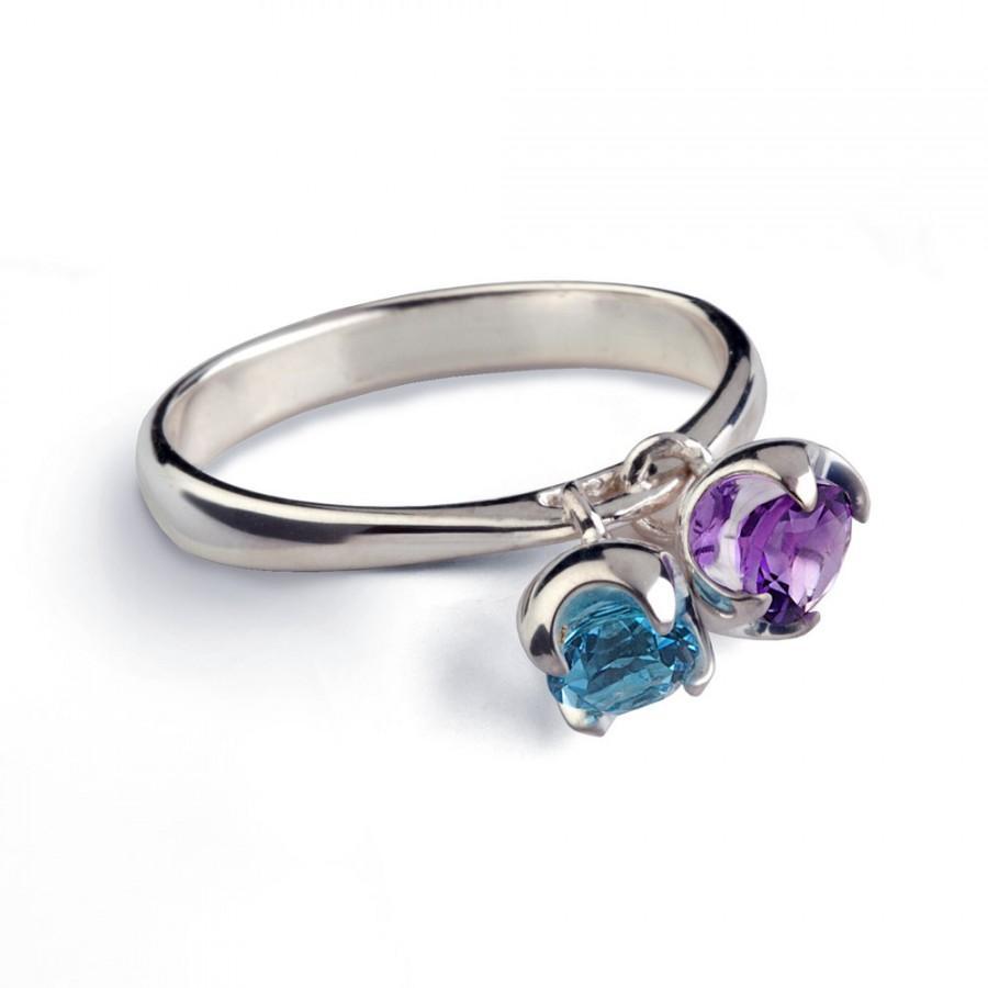 Свадьба - CHARMS Gold Amethyst Ring, Gold Blue Topaz Ring, 14k White Gold Ring, Dangle Charm Ring, Birthstone Ring, Mothers Ring, Gemstones Ring Gold