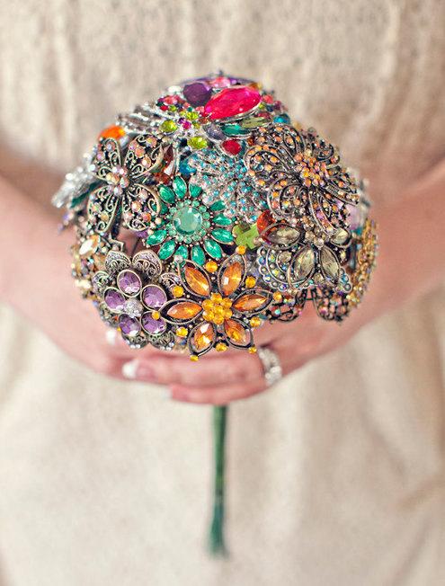 Свадьба - Medium Colorful Wedding Brooch Bouquet - Blue, Pink, Green, Purple, Orange, Yellow, Red