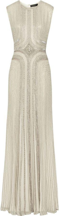 Mariage - NET-A-PORTER.COM - Jenny Packham Embellished Silk-Chiffon Gown