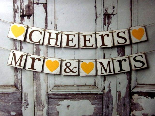 Mariage - Wedding Decorations -wedding Banners -CHEERS -MR & MRS-Sweetheart table Decorations-Rustic Wedding Banners-Wedding reception