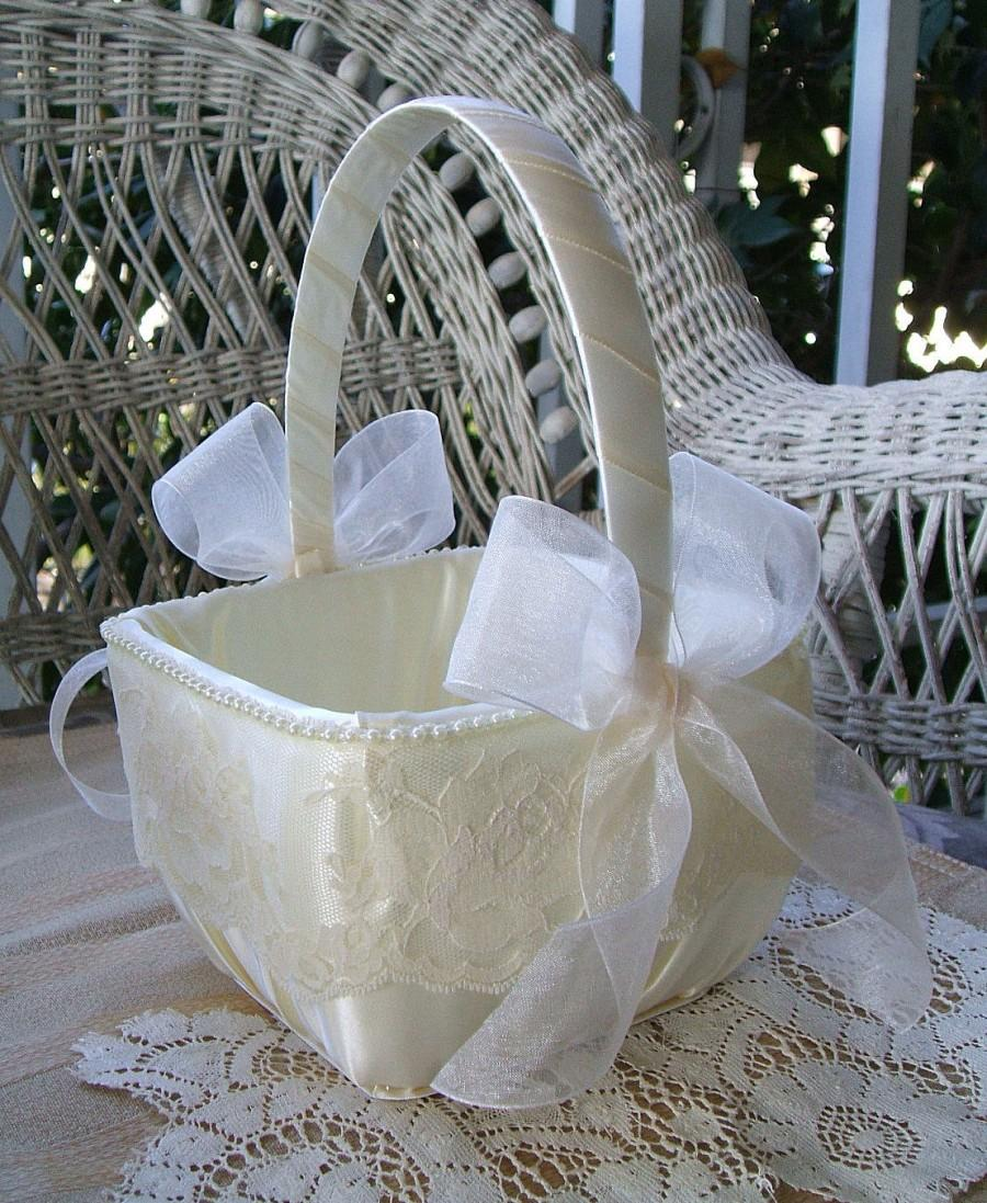 Flower Girl Basket Square Wedding Handmade Organza Flowergirl White