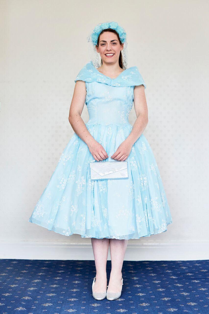 Vintage 1950s Dress Pale Blue Nylon White Flock Flower 1958