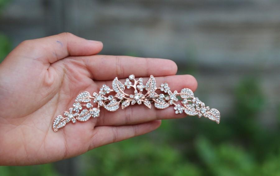 Mariage - Bridal hair comb rose gold hair comb hair accessories bridal hair clip hair pc rose gold comb