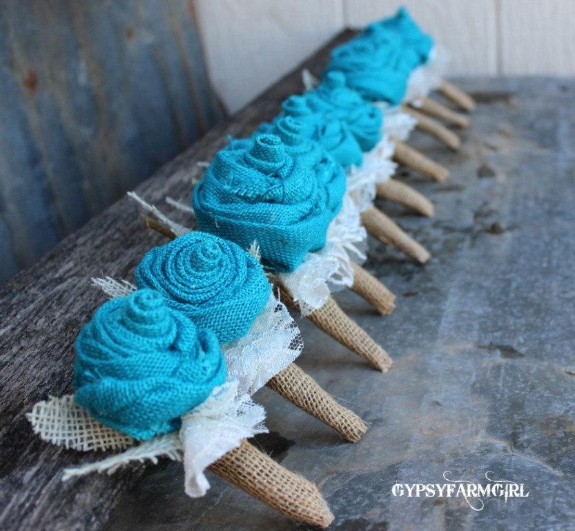 Hochzeit - Customized Burlap Rose Boutonnieres for Vintage Farm Burlap and Lace Wedding