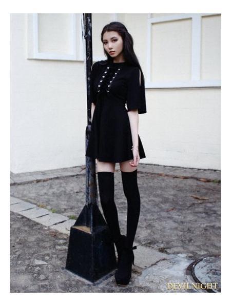 Mariage - Black Short Sleeves Gothic Velvet Dress